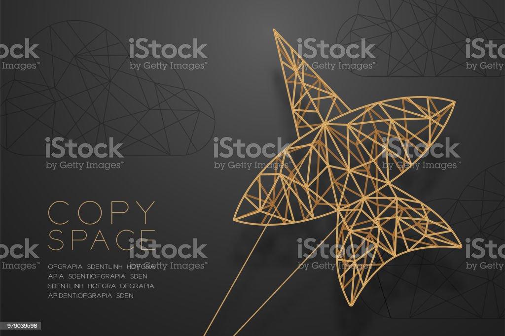 Chula Kite Und Drahtmodell Polygon Goldenen Rahmen Wolkenstruktur ...