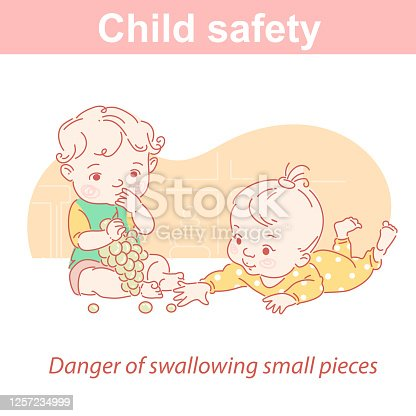 Child safety. Dangers for children in everyday life. Danger of swallowing small pieces. Two kiids eat grapes.  Prevent the death and injury of children.  Color vector illustration.