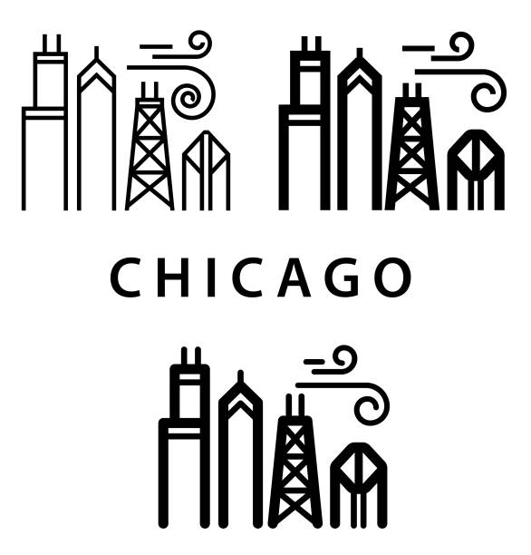 Chunky Chicago Illustration Chunky Style Chicago Illustration chicago stock illustrations