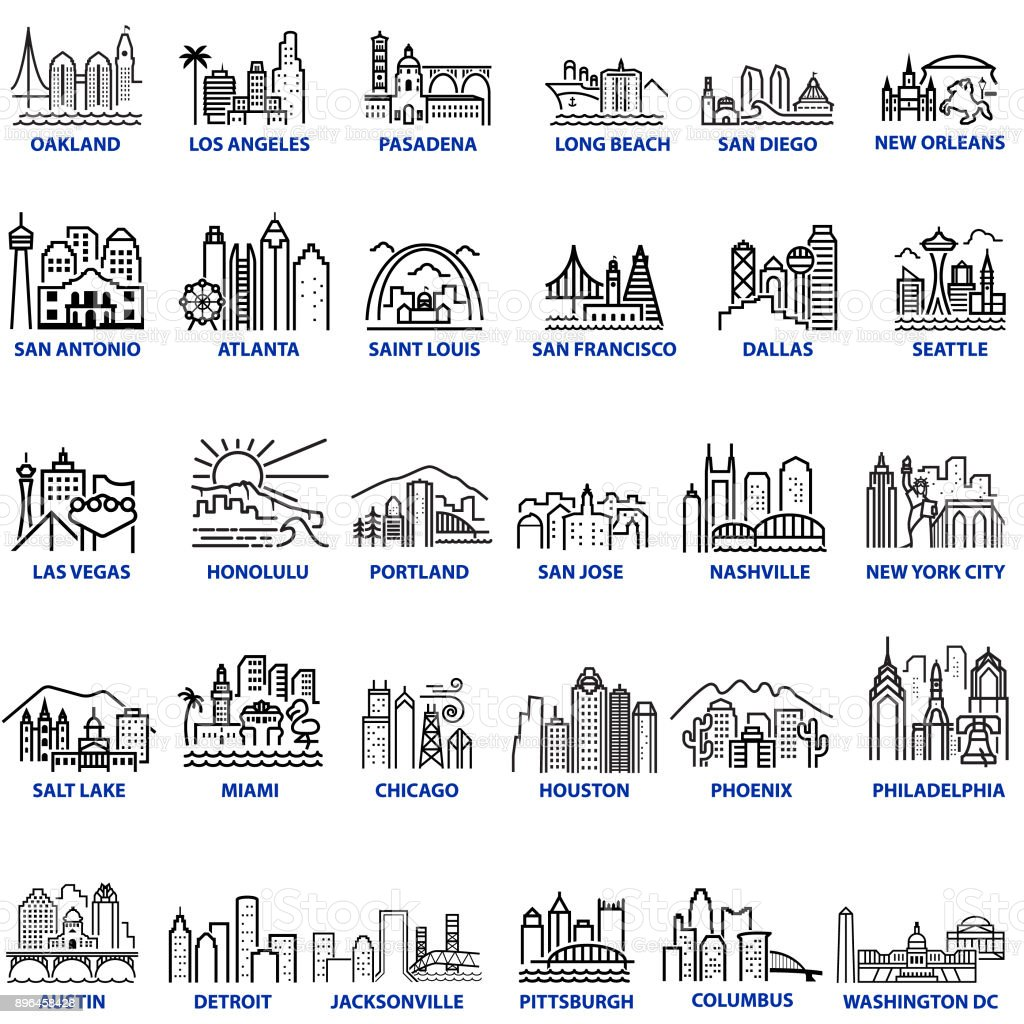 Chunky Style US Cityscapes vector art illustration