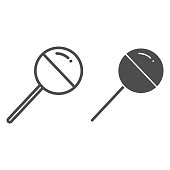 istock Chupa Chups line and solid icon. Sweet round lollipop illustration isolated on white. Chupa Chups yummy candy lollipop for kids outline style design, designed for web and app. Eps 10. 1218952788
