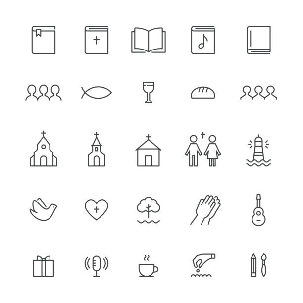 church and christian community flat outline icons. vector set - communion stock illustrations, clip art, cartoons, & icons