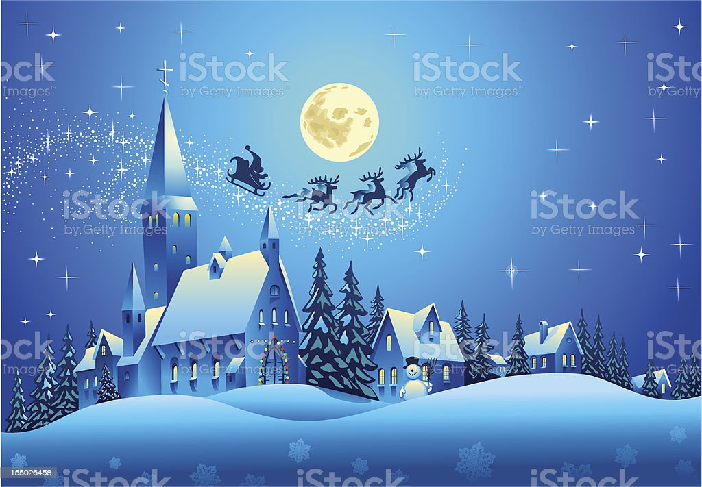 Church and Houses in the Christmas Night vector art illustration