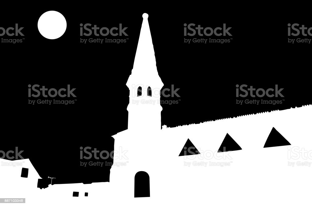 Church and Moon Vector - Black Background vector art illustration