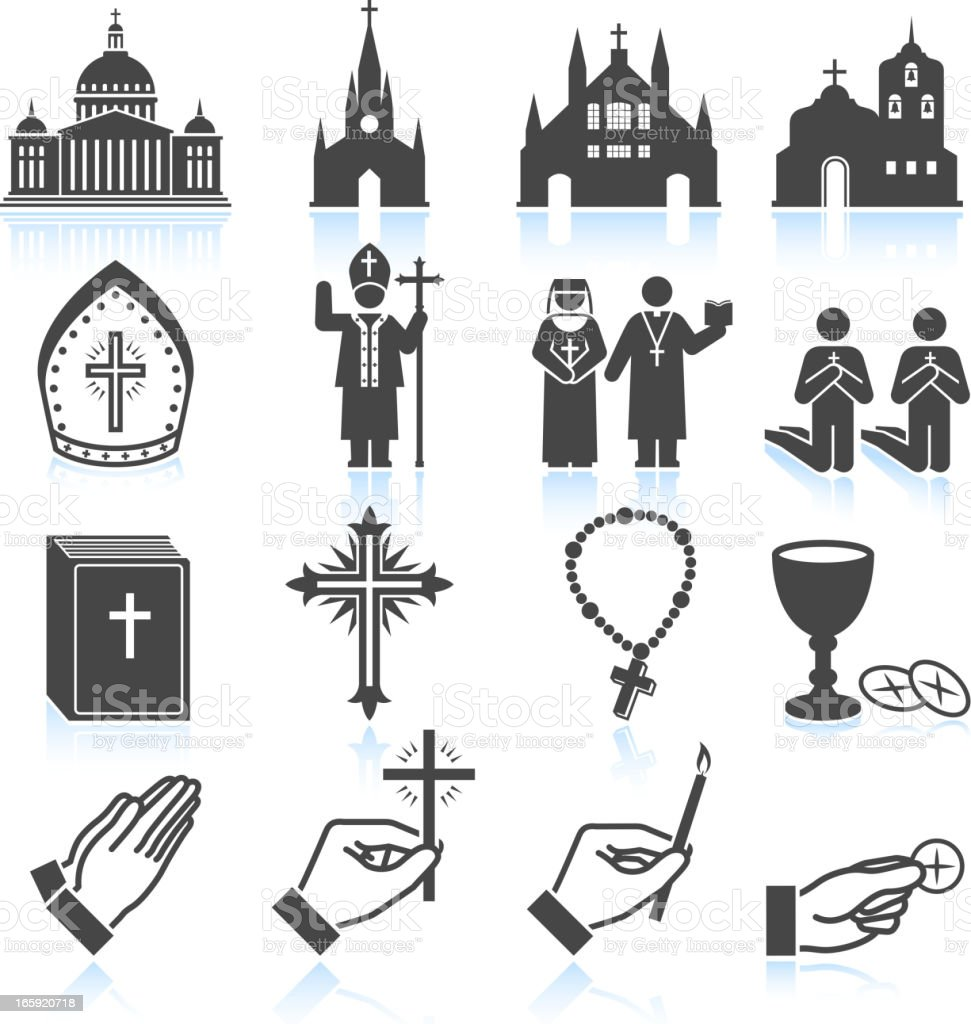 Church and Religious black & white vector icon set vector art illustration