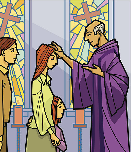 church ash wednesday c - ash wednesday stock illustrations, clip art, cartoons, & icons