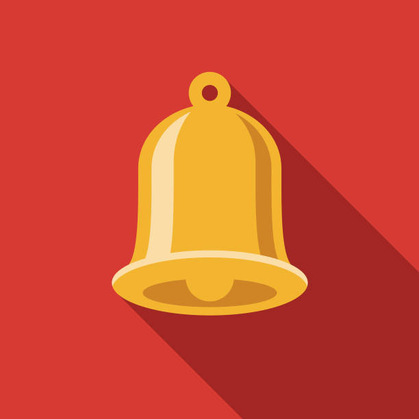 Church Bell Christian Icon A flat design/thin line icon on a colored background. Color swatches are global so it's easy to edit and change the colors. File is built in CMYK for optimal printing and the background is on a separate layer. bell stock illustrations