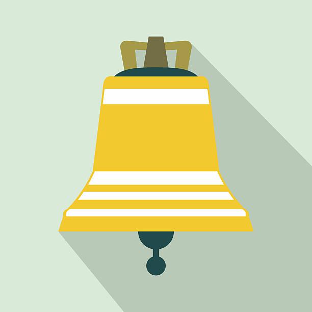 church bell flat icon - kirchenschmuck stock-grafiken, -clipart, -cartoons und -symbole