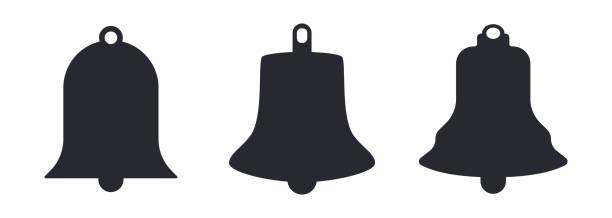 stockillustraties, clipart, cartoons en iconen met kerk bell silhouetten vector illustratie - klokkentoren met luidende klokken