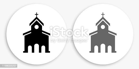 Church Black and White Round Icon. This 100% royalty free vector illustration is featuring a round button with a drop shadow and the main icon is depicted in black and in grey for a roll-over effect.