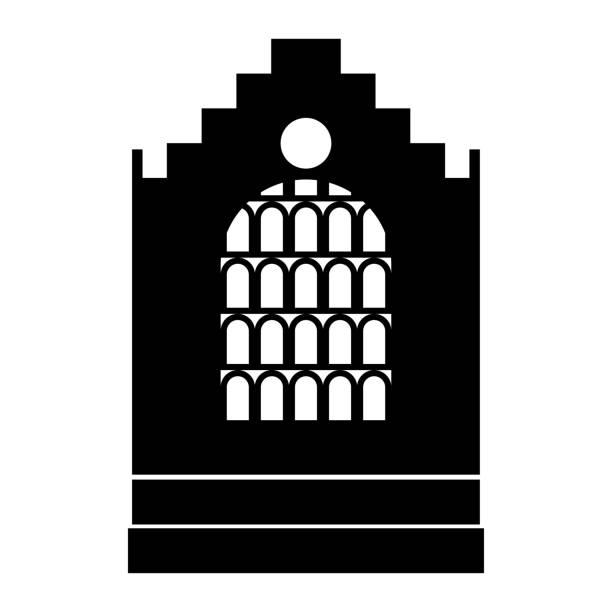 kirche gebäude schwarz symbol. - kultfilme stock-grafiken, -clipart, -cartoons und -symbole
