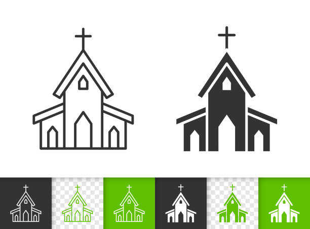 Church building chapel simple black vector icon Church black linear and silhouette icons. Thin line sign of building. Chapel outline pictogram isolated on white, color, transparent background. Vector Icon shape. Religion house simple symbol closeup church stock illustrations