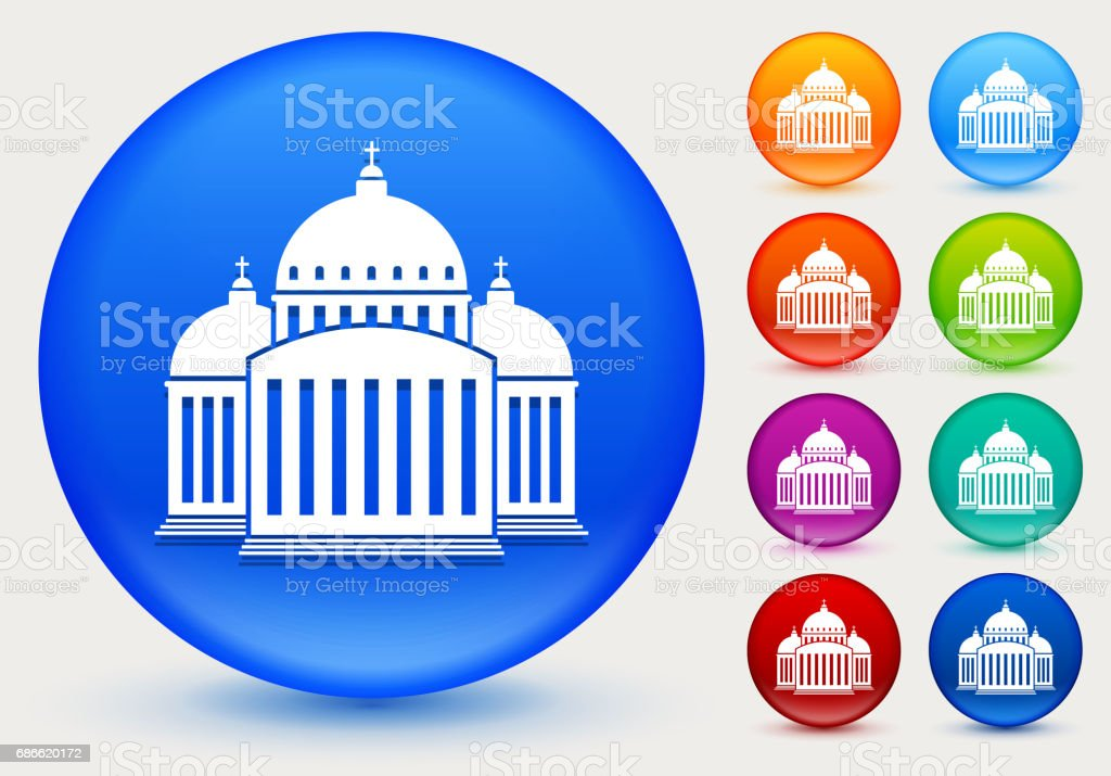 Church Building Icon on Shiny Color Circle Buttons royalty-free church building icon on shiny color circle buttons stock vector art & more images of built structure