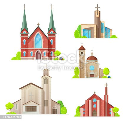 Church buildings, cathedral, chapels and monastery facades icons. Vector isolated Medieval cathedral, and modern church, Christian orthodox, catholic and evangelic religious architecture
