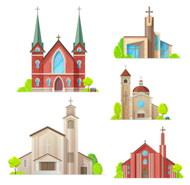 Church, cathedral chapel, religon architecture Church buildings, cathedral, chapels and monastery facades icons. Vector isolated Medieval cathedral, and modern church, Christian orthodox, catholic and evangelic religious architecture church stock illustrations