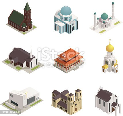 World religions buildings isometric icons set with orthodox church catholic cathedral temple synagogue mosque isolated vector illustration