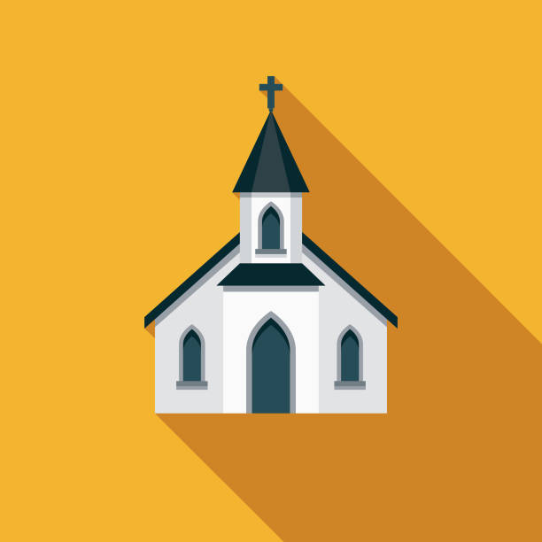 Church Christian Icon A flat design/thin line icon on a colored background. Color swatches are global so it's easy to edit and change the colors. File is built in CMYK for optimal printing and the background is on a separate layer. church stock illustrations