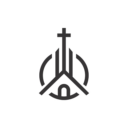 Church / Christian with line art style design inspiration