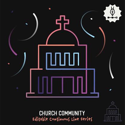Church Community Editable Line Illustration