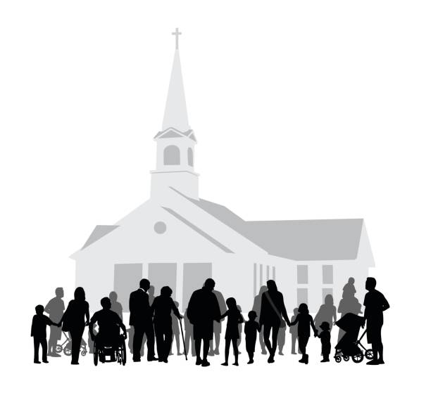 Church Community Gathering Silhouette vector illustration church stock illustrations