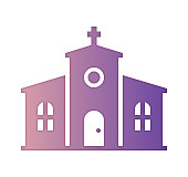 Church community design, gradient color painted by path of the icon with inner shadow. Papercut style graphic can also be used as simple vector template for silhouette illustrations.