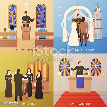Colorful religious 2x2 design concept set with church service and wedding ceremony flat isolated vector illustration
