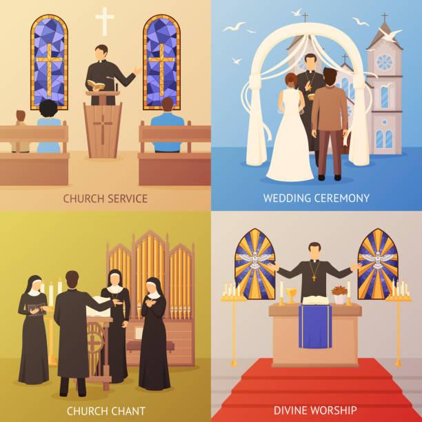 Kirchenkonzept – Vektorgrafik