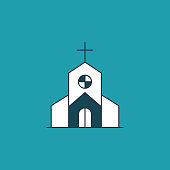 Church Flat Design Easter Icon