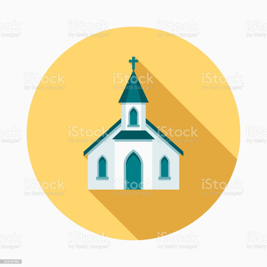 Church Flat Design Easter Icon with Side Shadow