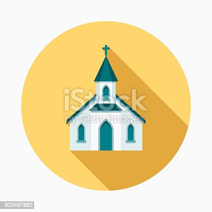 istock Church Flat Design Easter Icon with Side Shadow 923497682