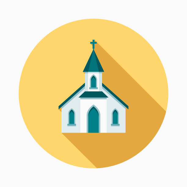 Church Flat Design Easter Icon with Side Shadow A pastel colored flat design Easter icon with a long side shadow. Color swatches are global so it's easy to edit and change the colors. church stock illustrations