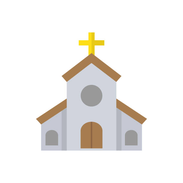 Church flat icon, religion building elements. Religious sign, a colorful solid pattern on a white background, eps 10 Church flat icon, religion building elements. Religious sign, a colorful solid pattern on a white background, eps 10 church stock illustrations