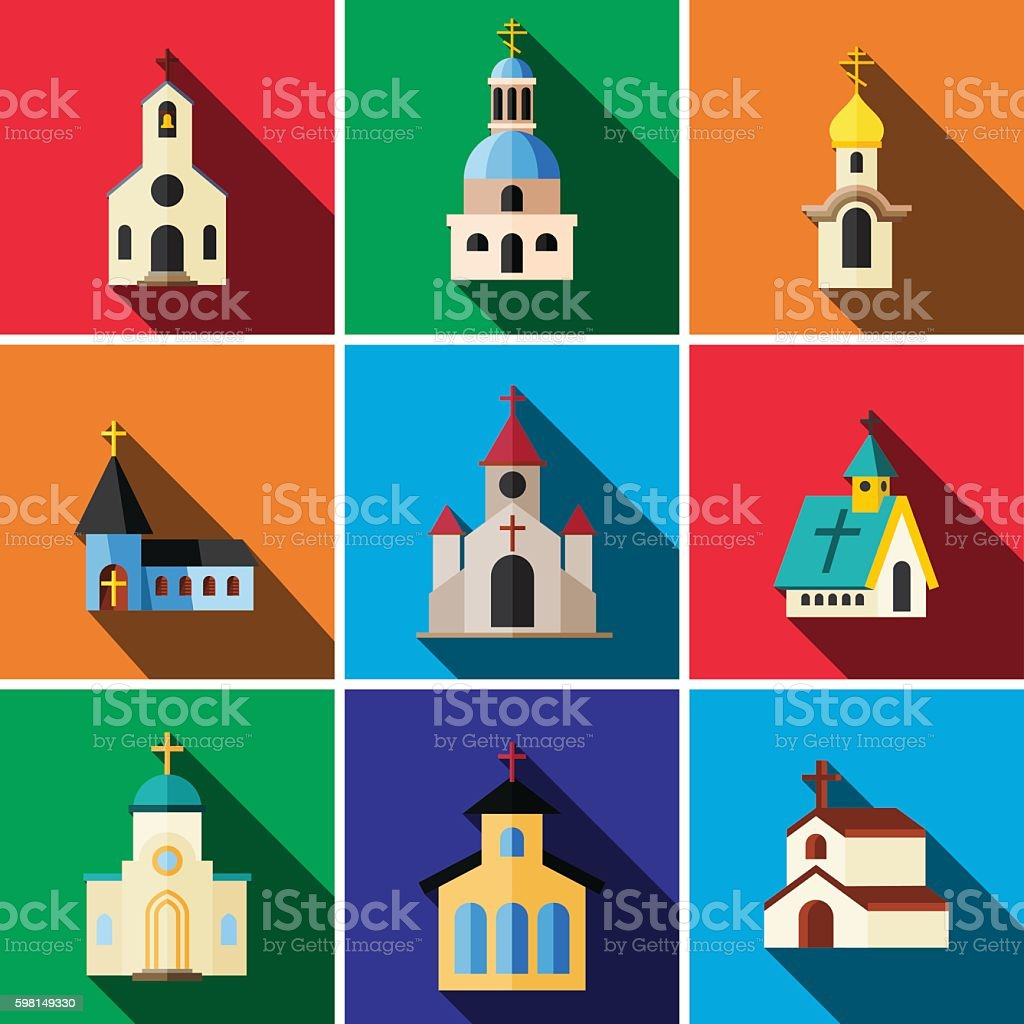 Church flat icon set vector art illustration