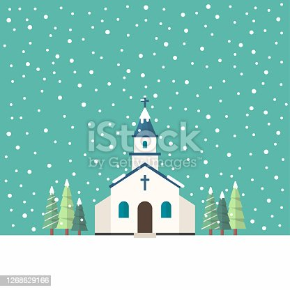 Church flat style in winter season. Vector illustration