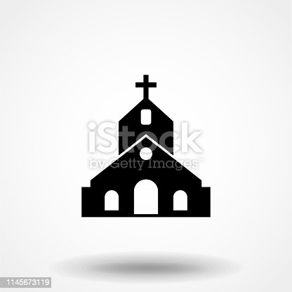 istock Church icon. Flat design style. vector church icon icon illustration isolated on white background, graphic design vector symbols. Eps10 1145673119