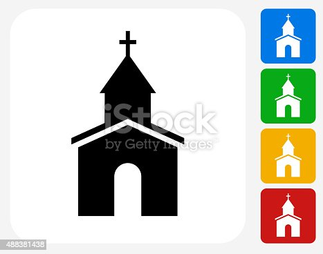 Church Icon. This 100% royalty free vector illustration features the main icon pictured in black inside a white square. The alternative color options in blue, green, yellow and red are on the right of the icon and are arranged in a vertical column.