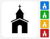 Church Icon Flat Graphic Design