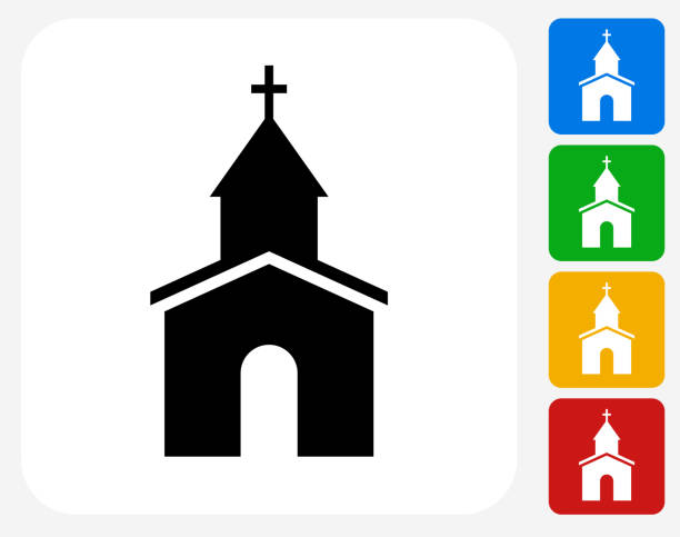 Church Icon Flat Graphic Design Church Icon. This 100% royalty free vector illustration features the main icon pictured in black inside a white square. The alternative color options in blue, green, yellow and red are on the right of the icon and are arranged in a vertical column. church stock illustrations