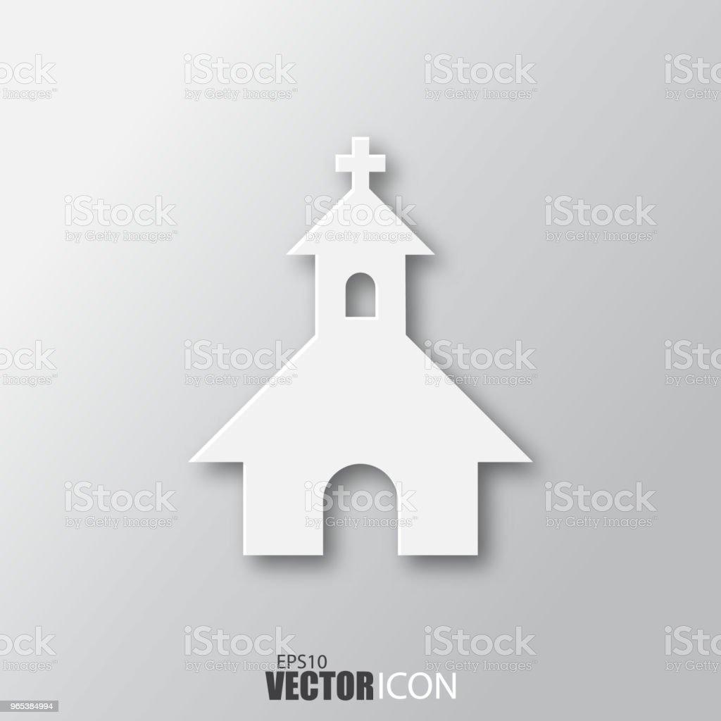 Church icon in white style with shadow isolated on grey background. church icon in white style with shadow isolated on grey background - stockowe grafiki wektorowe i więcej obrazów abstrakcja royalty-free