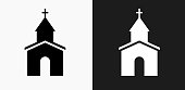 Church Icon on Black and White Vector Backgrounds