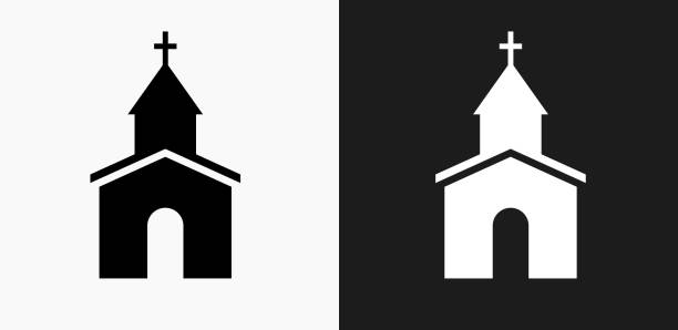 Church Icon on Black and White Vector Backgrounds Church Icon on Black and White Vector Backgrounds. This vector illustration includes two variations of the icon one in black on a light background on the left and another version in white on a dark background positioned on the right. The vector icon is simple yet elegant and can be used in a variety of ways including website or mobile application icon. This royalty free image is 100% vector based and all design elements can be scaled to any size. church stock illustrations