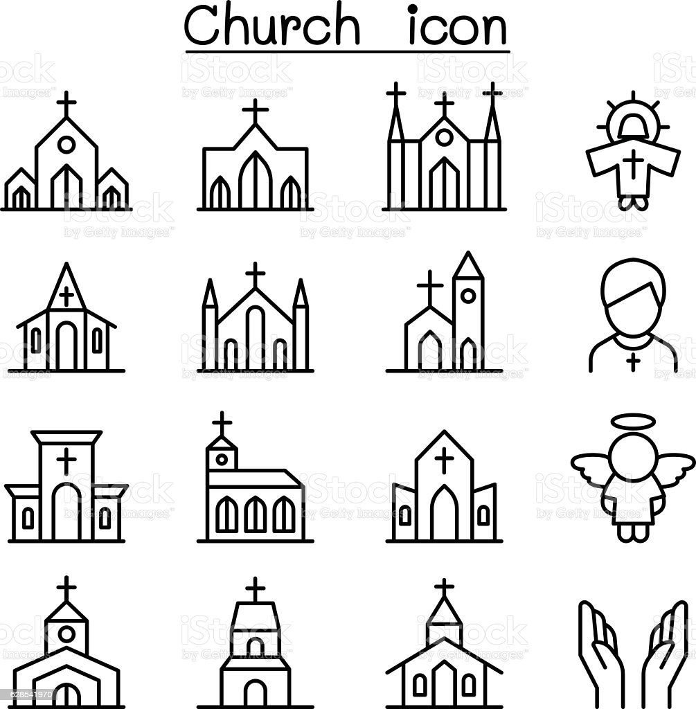 Church icon set in thin line style vector art illustration