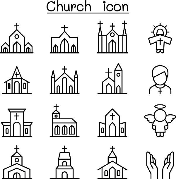 Church icon set in thin line style Church icon set in thin line style church stock illustrations