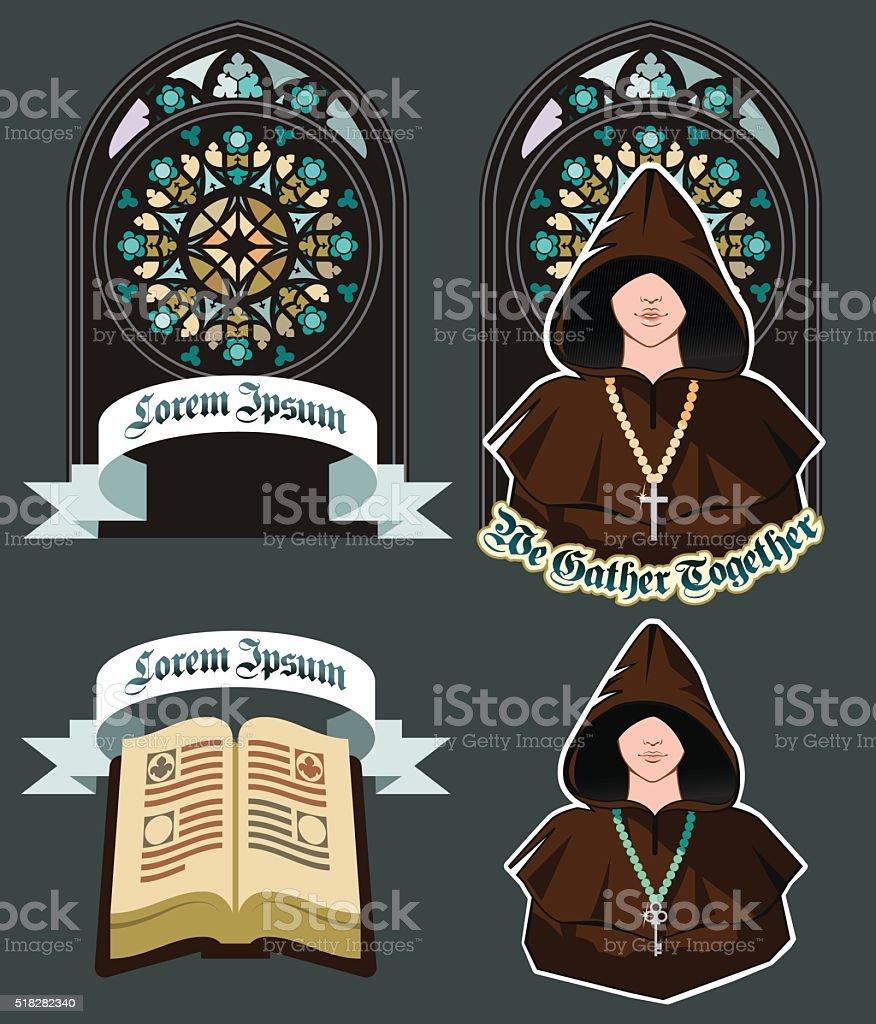 Conjunto de iconos de la iglesia con mosaico ventana, plano ilustración de vectores - ilustración de arte vectorial
