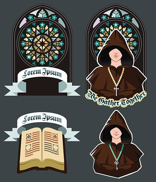 ilustraciones, imágenes clip art, dibujos animados e iconos de stock de conjunto de iconos de la iglesia con mosaico ventana, plano ilustración de vectores - hermano
