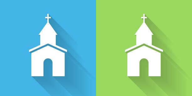 Church Icon with Long Shadow vector art illustration