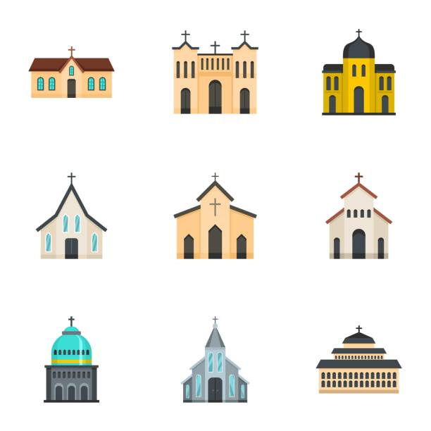 Church icons set, cartoon style Church icons set. Cartoon set of 9 church vector icons for web isolated on white background church stock illustrations