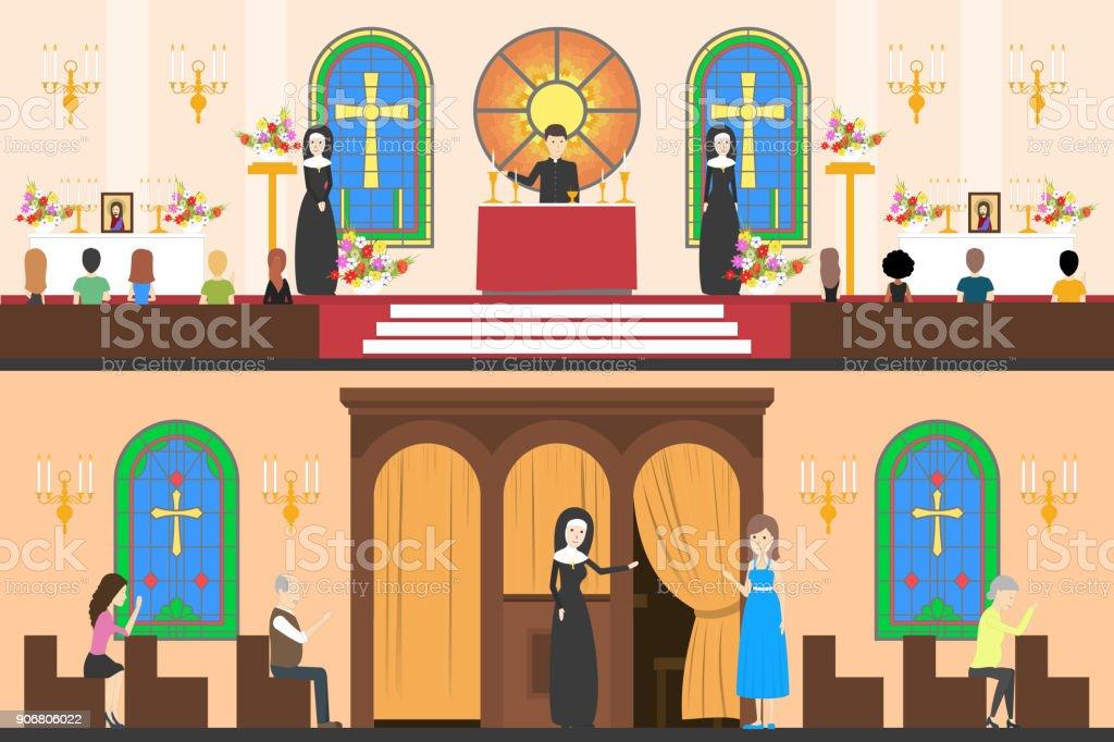 Church interior set. vector art illustration