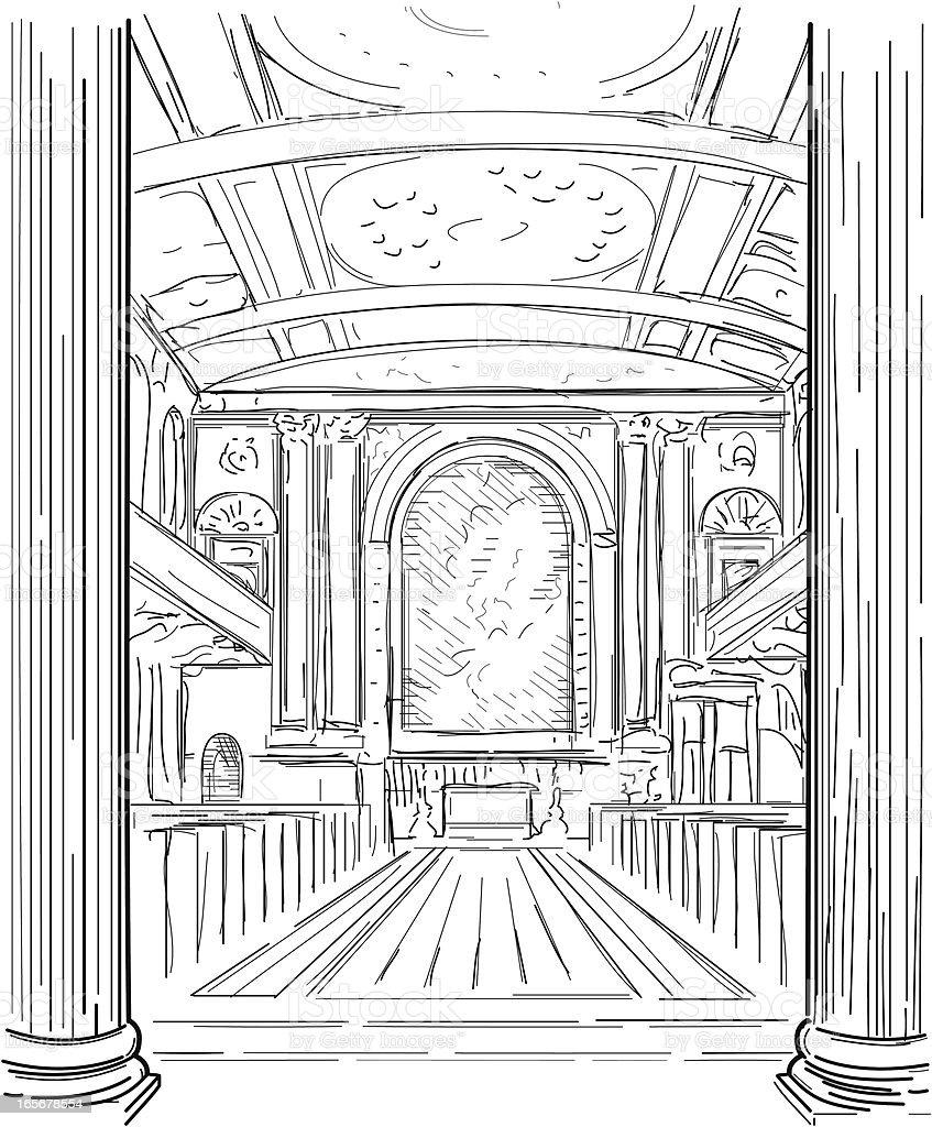 Church interior royalty-free stock vector art