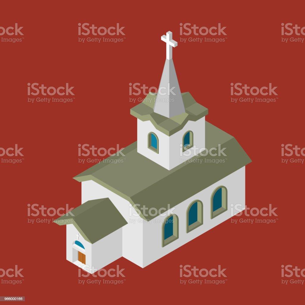 Church Isometrics Catholic Christian house religion. Vector illustration - Royalty-free Architecture stock vector